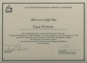 EERPF Certificate Ewa Pietras - Pietras Nieruchomości Poznań - 1994