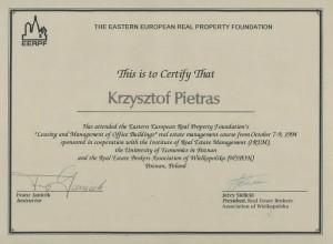 EERPF Certificate - Krzysztof Pietras - 1994