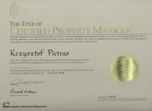 IREM Certificate - Krzysztof Pietras - 1998