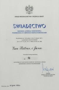 Licencja - Ewa Pietras - Nieruchomości Poznań - 1999 - pośrednictwo Nieruchomości Poznań