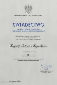Licencja - Krzysztof Pietras - pośrednictwo nieruchomości Poznań - 1999