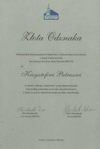 WSPON - Złota Odznaka - Krzysztof Pietras - 1999
