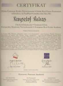 PFRN - Certyfikat - Krzysztof Pietras - 2003 - Nieruchomości Poznań