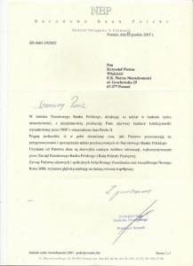 NBP - Podziękowanie - Nieruchomości Poznań - 2007