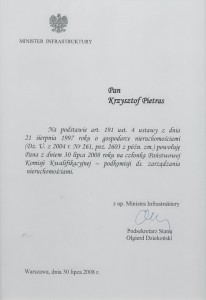 Ministerwstwo Infrastruktury - Powołanie - Krzysztof Pietras, 2008