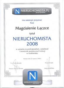 2008 - Nieruchomista Roku - Magda Łączka - wynajem mieszkań Poznań