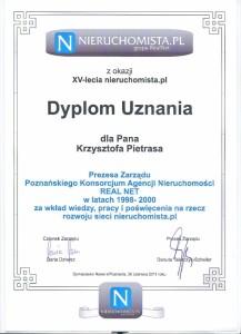 Nieruchomista - Dyplom Uznania 2011 - Krzysztof Pietras
