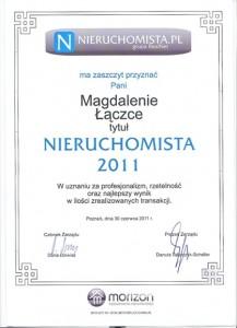 2011 - Nieruchomista Roku - Magda Łączka