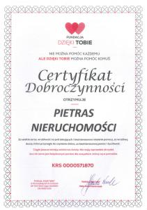 BON Pietras Nieruchomości Poznań - referencje - Certyfikat Dobroczynnosci - Fundacja Dzięki Tobie