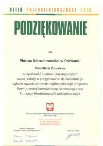 BON Pietras Nieruchomości -referencje - Dzień Przedsiębiorczosci - Maria Żurawska - 2019